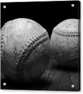 Game Used Baseballs In Black And White Acrylic Print