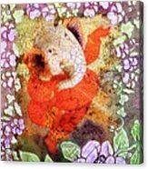 Ganesh In Dancing Pose With Floral Backdrop. Acrylic Print