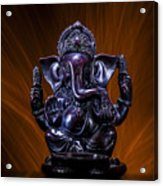 Ganesha With Fire Background Acrylic Print