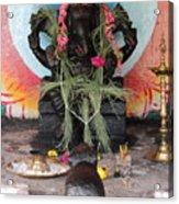 Ganesha With Pink Flowers, Valparai Acrylic Print