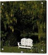 Garden Bench White Acrylic Print