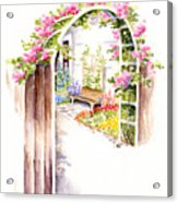 Garden Gate Botanical Landscape Acrylic Print