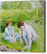 Garden Of Weedin Original Watercolor And Colored Pencil Nature Landscape Floral Painting Acrylic Print
