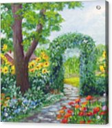 Garden With Sunflowers Acrylic Print