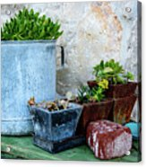 Gardening Pots And Small Shovel Against Stone Wall In Primosten, Croatia Acrylic Print