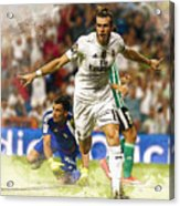 Gareth Bale Celebrates His Goal  Acrylic Print