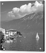 Gargnano On Lake Garda, Italy.    Black And White Acrylic Print