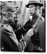 Gary Cooper Getting A Medal Of Honor As Sergeant York 1941 Acrylic Print
