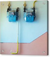 Gas Meters Acrylic Print by Gabriela Insuratelu