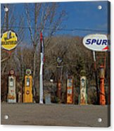 Gas Pumps And Gas Signs Panorama Acrylic Print