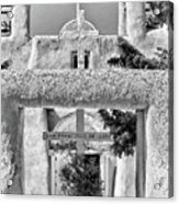Gate To Ranchos Church Black And White Acrylic Print