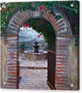 Gate To The Sacred Garden And Bell Wall Mission San Juan Capistrano California Acrylic Print