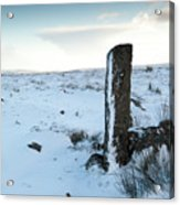 Gatepost In The Snow Acrylic Print