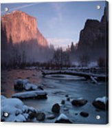 Gates Of The Valley In Winter Acrylic Print