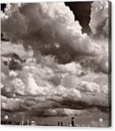 Gathering Clouds Over Lake Geneva Bw Acrylic Print