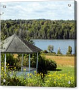 Gazebo And Caribou Lake Acrylic Print