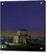 Gazing Stars At Vista House On Crown Point Acrylic Print
