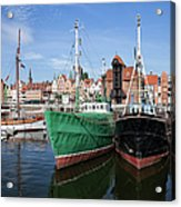 Gdansk Old Town Skyline From The Harbour Acrylic Print