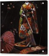 Geisha Doll In Red Acrylic Print