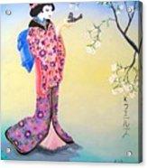 Geisha with Bird Acrylic Print