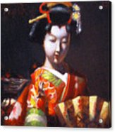 Geisha With Golden Fan Acrylic Print