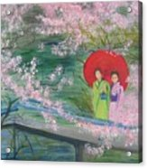 Geishas And Cherry Blossom Acrylic Print