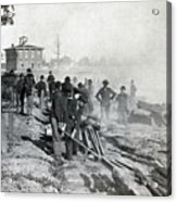 Gen Shermans Troops Destroying Railroad Before The Evacuation Of Atlanta - C 1864 Acrylic Print