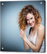 Geniue Portrait Of A Young Positive, Smiling Girl. Acrylic Print