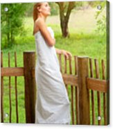 Gentle Woman Standing On The Porch  Acrylic Print