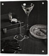 Gentleman's Pause In Monochrome Acrylic Print