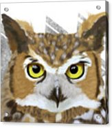 Geometric Great Horned Owl Acrylic Print