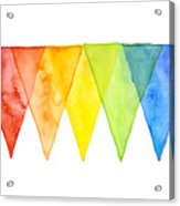 Geometric Watercolor Pattern Rainbow Triangles Acrylic Print