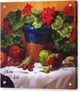 Geraniums And Apples Acrylic Print