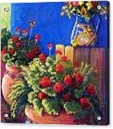 Geraniums And Talavera Acrylic Print