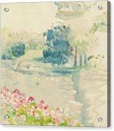 Geraniums By The Lake Acrylic Print