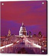 Ghostly Commuters Head To St Pauls On Millennium Bridge Acrylic Print