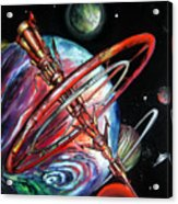 Giant, Old Red Space Shuttle Of Alien Civilization Acrylic Print