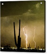 Giant Saguaro Southwest Lightning  Peace Out  Acrylic Print