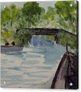 Giethoorn Boat Approaches Bridge Acrylic Print