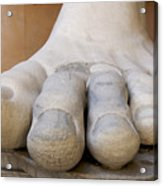 Gigantic Foot From The Statue Of Constantine. Rome. Italy. Acrylic Print by Bernard Jaubert