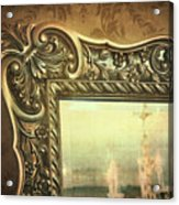 Gilded Mirror Reflection Of Chandelier Acrylic Print
