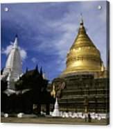 Gilded Stupa Of The Shwezigon Pagoda Acrylic Print by Sami Sarkis