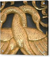 Gilded Temple Carving Of Geese Acrylic Print