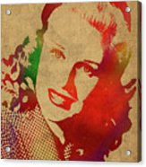 Ginger Rogers Watercolor Portrait Acrylic Print