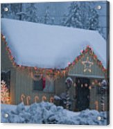 Gingerbread House In Snow Acrylic Print