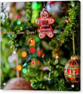 Gingerbread Man With Happy New Year 4350 Acrylic Print