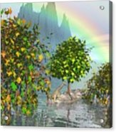 Giraffe Rainbow Heaven Acrylic Print