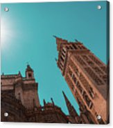 La Giralda Bell Tower Brilliantly Lit In Teal And Orange Acrylic Print
