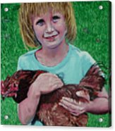 Girl And Chicken Acrylic Print
