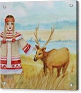 Girl And Deer Acrylic Print